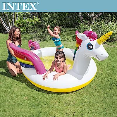 INTEX 獨角獸噴水戲水游泳池272x193x104cm(57441)