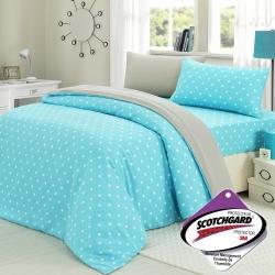 精靈工廠 3M吸濕排汗專利心漾點點雙人三件式床包組-藍點+淺灰