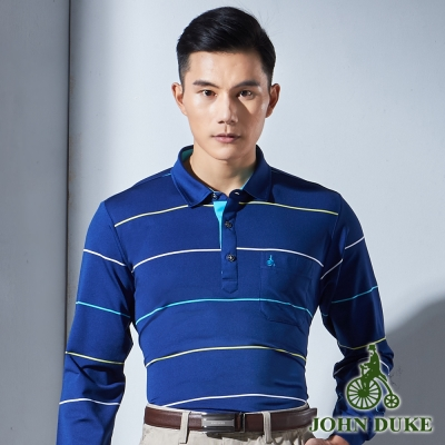 JOHN DUKE 彈性舒適條紋薄休閒POLO衫_藍色(99-7V3050)