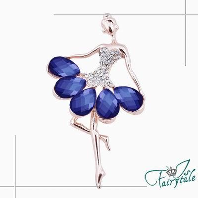 iSFairytale伊飾童話 芭蕾天使 藍水晶花瓣胸針