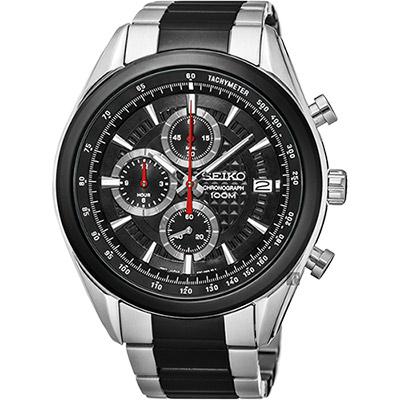 SEIKO 精工 競速巔峰計時腕錶(SSB201P2)-黑x雙色錶帶/45mm