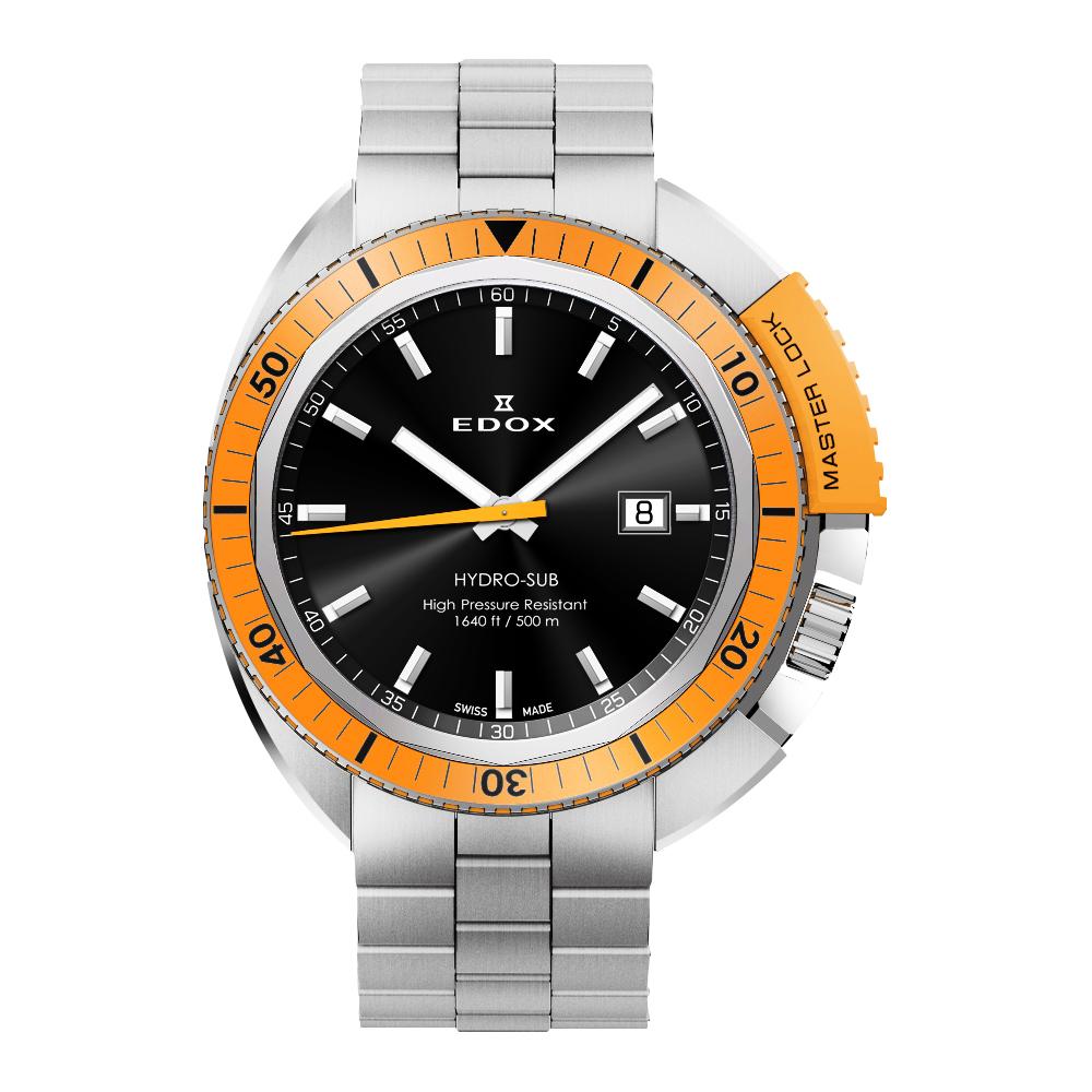 EDOX Hydro Sub 北極潛水500米石英腕錶-黑x橘框/46mm