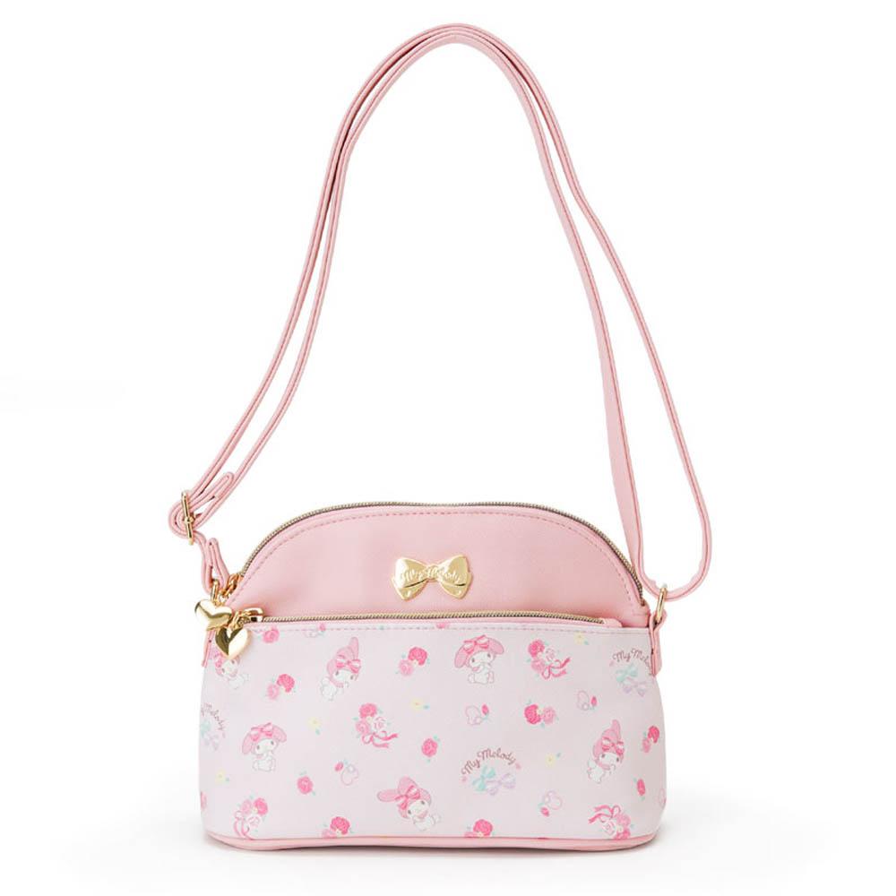 Sanrio美樂蒂PU皮革女童用斜背包緞帶玫瑰