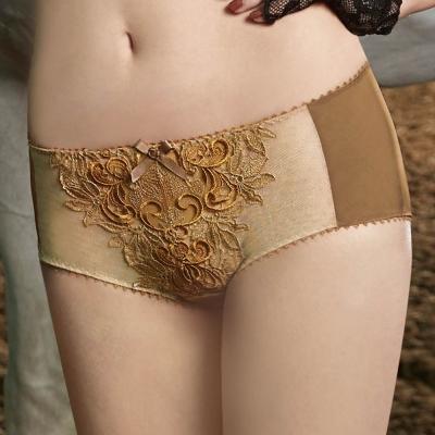 曼黛瑪璉-Marie One 刺繡蕾絲 低腰平口萊克內褲(閃耀棕)