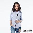 BIG TRAIN 特殊剪接女款七分袖襯衫-女-白底藍條