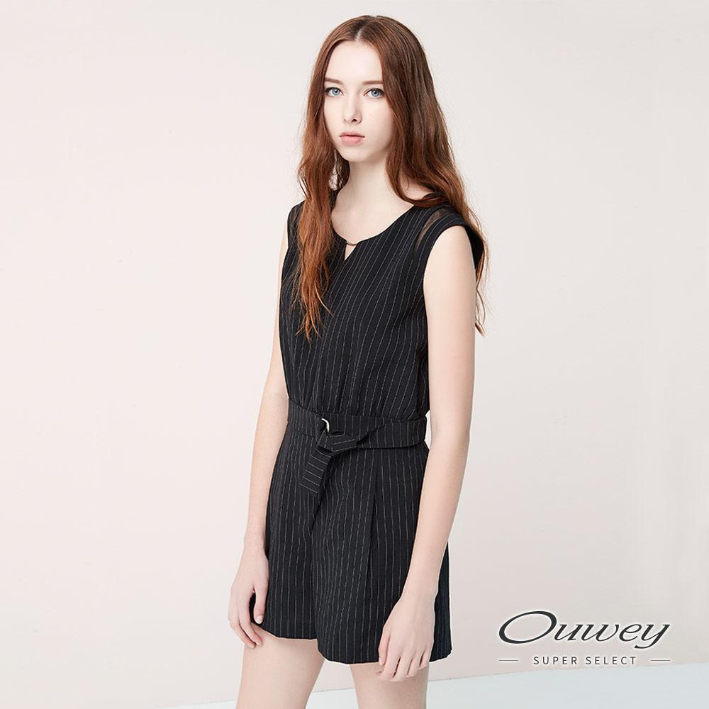 OUWEY歐薇 都會簡約條紋連身褲裝(黑)