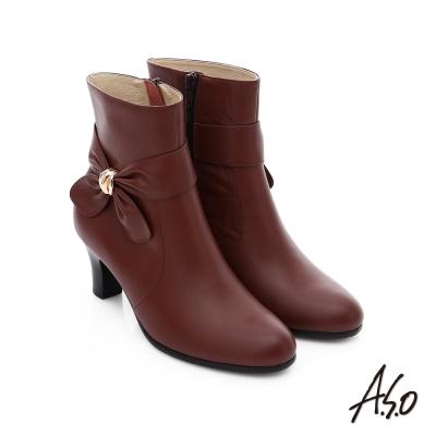 A.S.O 優雅時尚 立體蝴蝶結飾奈米中筒靴 紅色