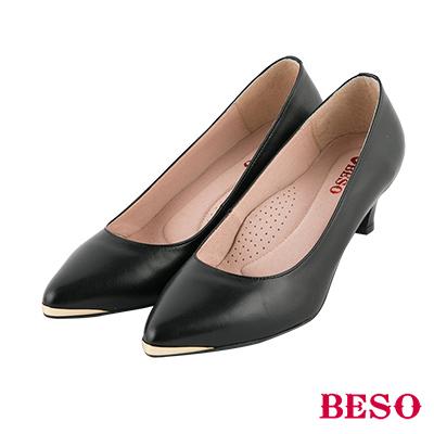 BESO 簡約知性 金屬尖頭全真皮跟鞋~黑