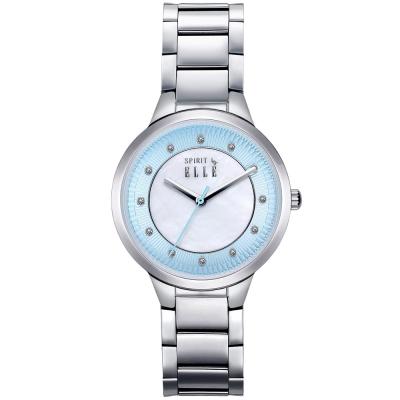 ELLE 時尚晶鑽不繡鋼時尚腕錶-藍色x白色 /34mm
