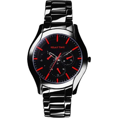 Relax Time 嶄新系列日曆腕錶-黑x紅/42mm