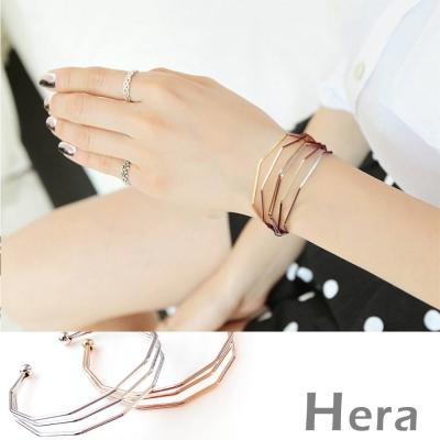 Hera 赫拉 菱形線條幾何開口手環/手鐲-二色