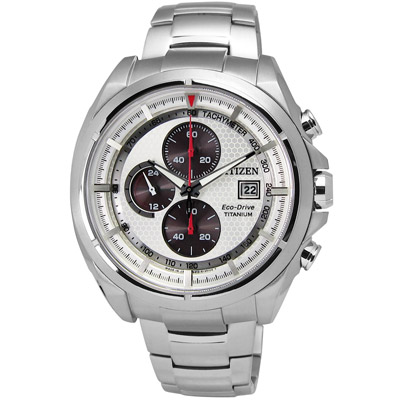 CITIZEN 極品潮男光動能超級鈦手錶(CA0551-50A)-白x紅/44mm