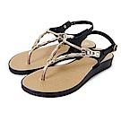 GRENDHA 金屬風人字帶楔型涼鞋-黑色