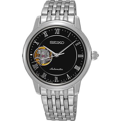 SEIKO Presage 羅馬時光開芯機械女錶(SSA855J1)-黑/34mm