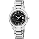 CITIZEN 錶環光動能典藏風範三針時尚腕錶(FE1070-55E)-黑/31mm