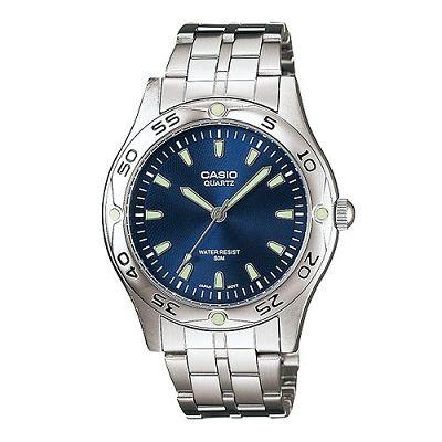 CASIO 時刻夜光時尚不鏽鋼腕錶(MTP-1243D-2A)-藍/40mm