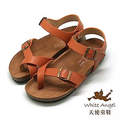 天使童鞋- 陽光羅馬氣墊夾腳親子拖鞋(超大童)J856-棕