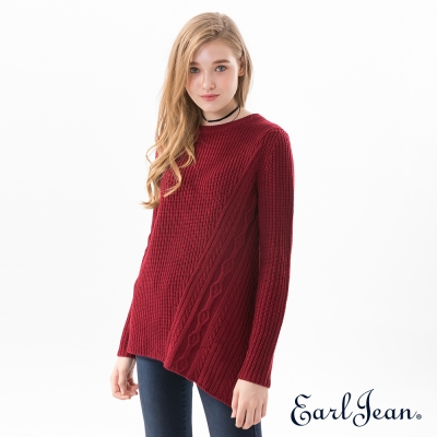 Earl Jean 不對稱織紋毛衣-暗紅-女