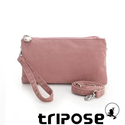 tripose 漫遊系列岩紋簡約微旅手拿/側肩包 粉膚