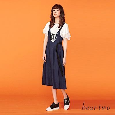 beartwo 織帶拼接百摺造型連身裙(二色)