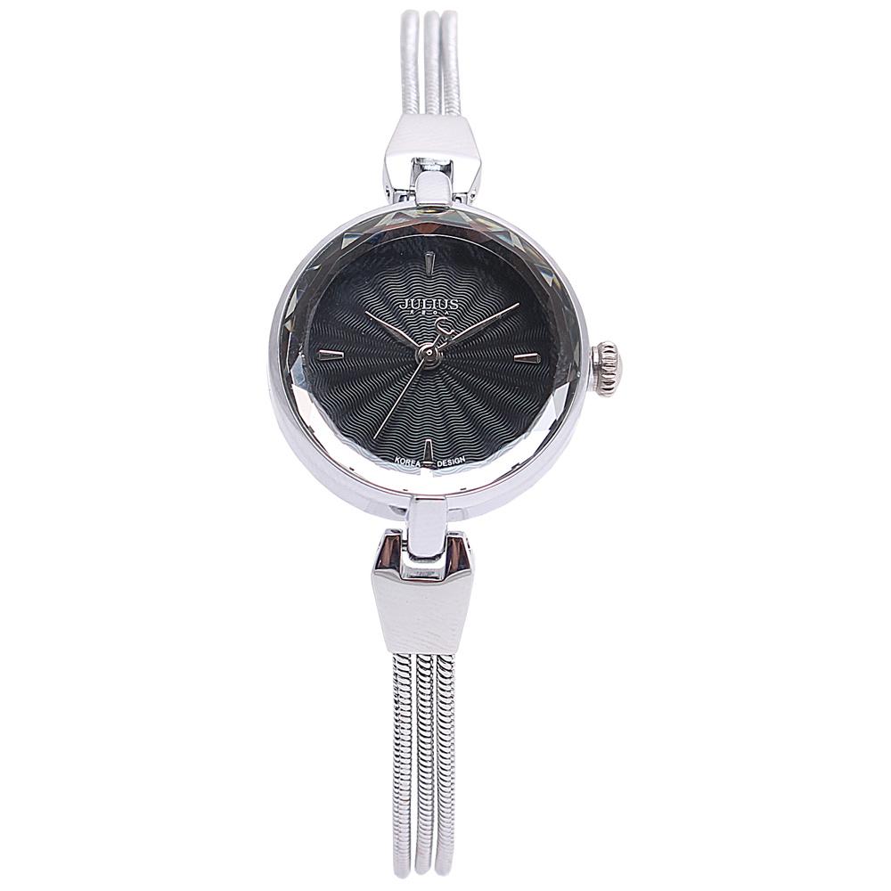 JULIUS聚利時艾莉兒的海螺貝殼面鍊飾腕錶-黑x銀25mm