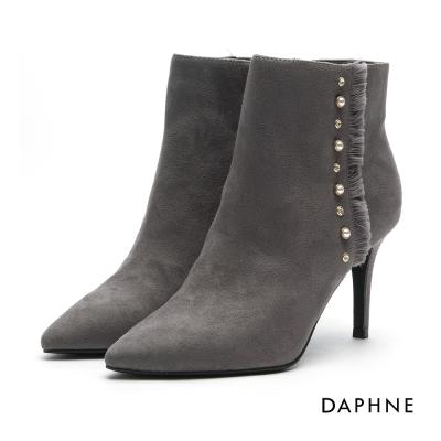 達芙妮DAPHNE 短靴-絨面流蘇珍珠水鑽鉚釘尖頭踝靴-灰