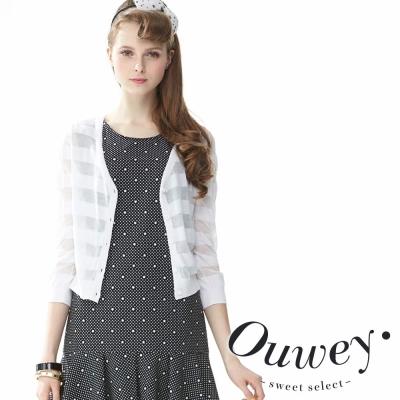OUWEY歐薇-絲質橫條透薄針織外套-共2色