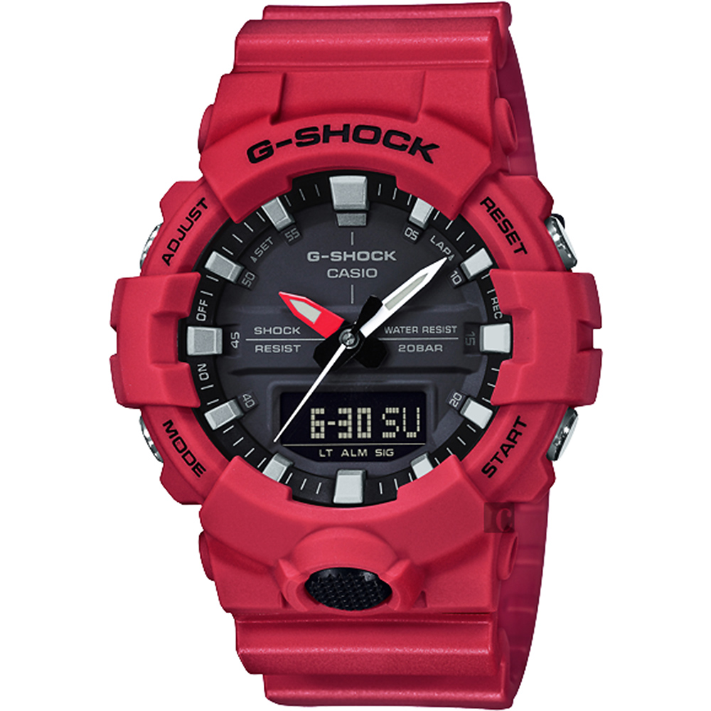 CASIO 卡西歐G-SHOCK 獨立秒針雙顯手錶-紅(GA-800-4ADR)