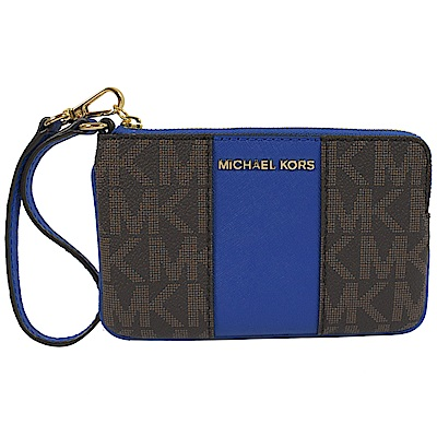 MICHAEL KORS CENTER STRIPE經典手拿包(深咖/藍)