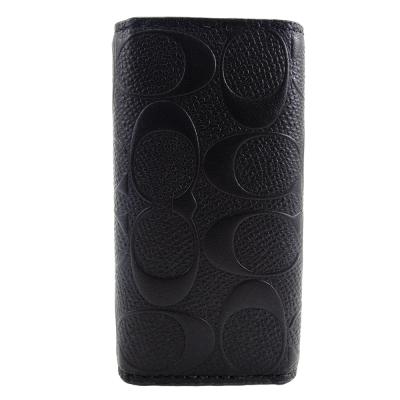 COACH-C-LOGO-壓印素面皮革鑰匙包-黑