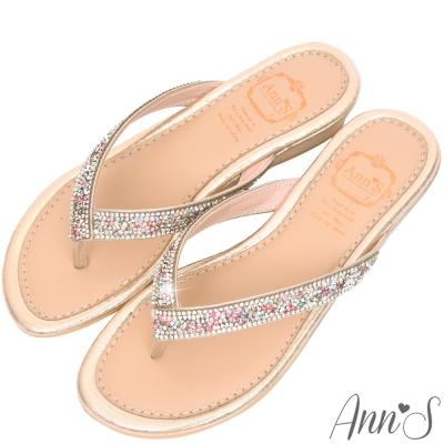 Ann'S甜美滋味-閃耀排鑽夾腳涼拖鞋-金