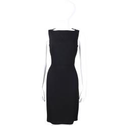 BURBERRY 黑色皮革滾邊設計無袖洋裝