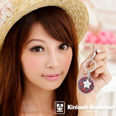 金安德森-MIX俏皮可愛-圓型鏡飾鎖匙圈-夢幻紅格