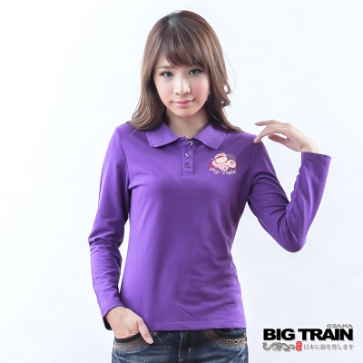 BIG TRAIN 達磨花丸POLO衫-女-紫