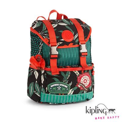 Kipling-後背包-叢林印花拼色後背包