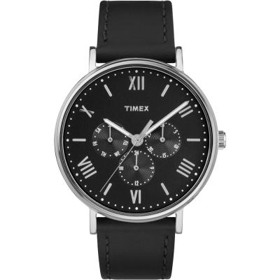 TIMEX 天美時 風格系列 羅馬字三眼手錶-黑/41mm