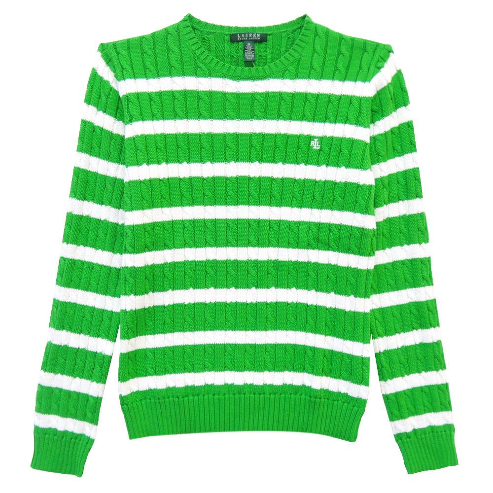 Ralph Lauren 字母刺繡麻花圓領針織女衫(綠白)