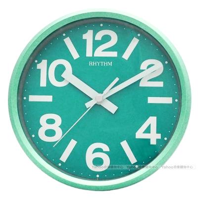 RHYTHM日本麗聲 粉彩風格座掛兩用靜音時鐘-草綠/18cm