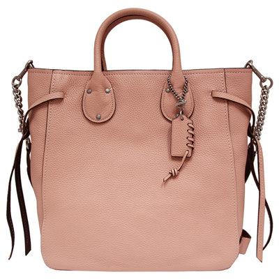 COACH 旋扣綁繩全皮革手提/斜背兩用包-磚粉色