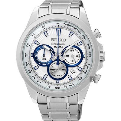 SEIKO精工 CS 破風競速計時腕錶(SSB239P1)-銀/45mm