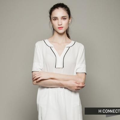 H-CONNECT-韓國品牌-女裝-飄逸垂墜感洋裝-白-快
