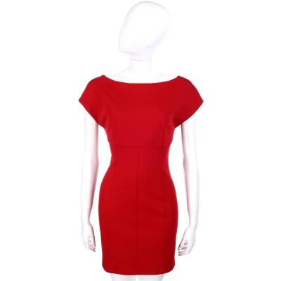 PLEIN SUD JEANIUS 露背V剪裁短袖洋裝(紅色)