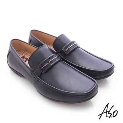 A.S.O 3D超動能 小牛皮直套式彈力舒適休閒鞋 深藍色