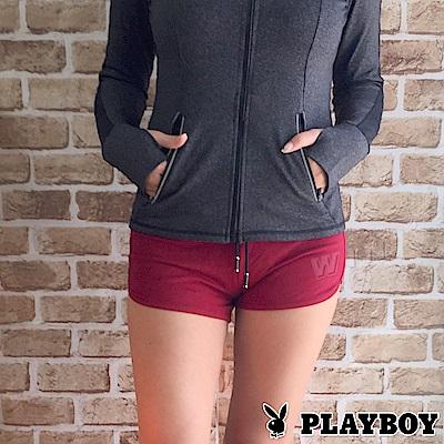 PLAYBOY舒活好動系列-運動瑜珈短褲(酒紅色06A17004)