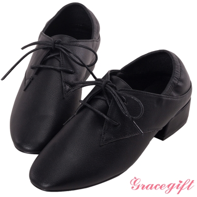 Grace gift-2way後鬆緊牛津綁帶跟鞋 黑