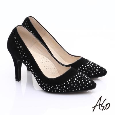 A.S.O 輕透美型 全真皮雙材質水鑽高跟鞋 黑