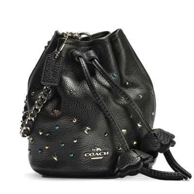 COACH 星空點點鉚釘綴飾荔枝紋皮革花花束口水桶手挽包-黑色