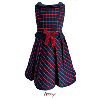 Annys貴族高級格紋布拼絨亮片洋裝*5618藍