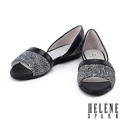 平底鞋 HELENE SPARK 隨性摩登幾何羊皮魚口平底鞋-黑