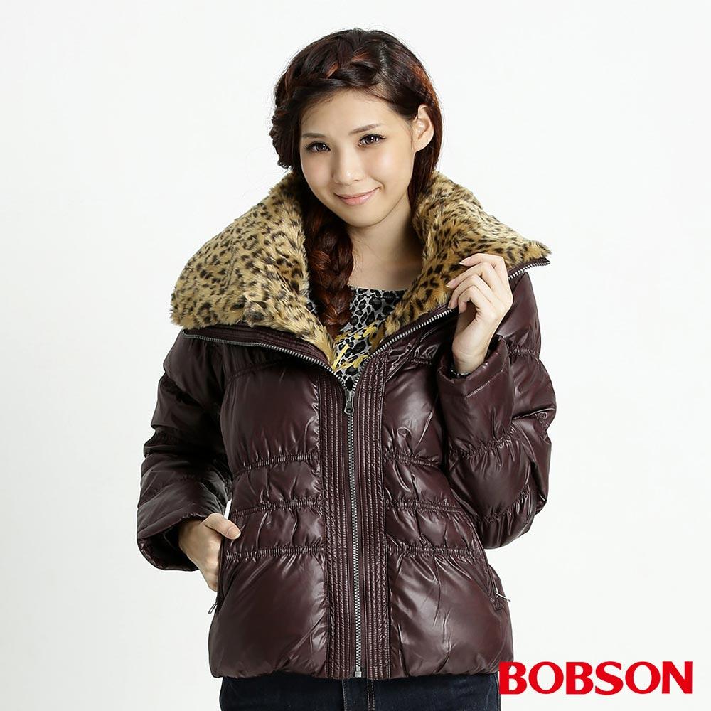 BOBSON女款豹紋大領片羽絨外套